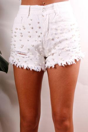 White Pearl Denim Shorts