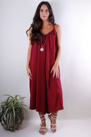 Wine Culotte Jumpsuit