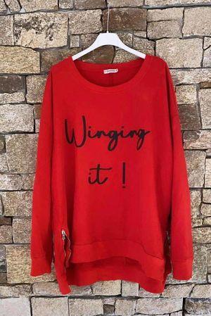 Winging It Oversized Zippi Sweat Red