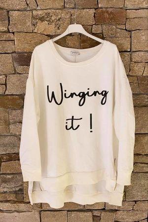 Winging It Oversized Zippi Sweat Winter White