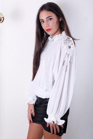 Winter White Embellished Appliqué Blouson