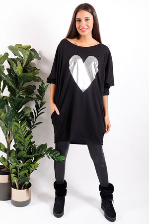 Wonderland Metallic Heart Tunic Black