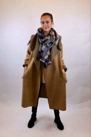 Made In Italy Camel Wool Coatigan