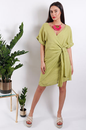 Rio Wrap Linen Dress Lime