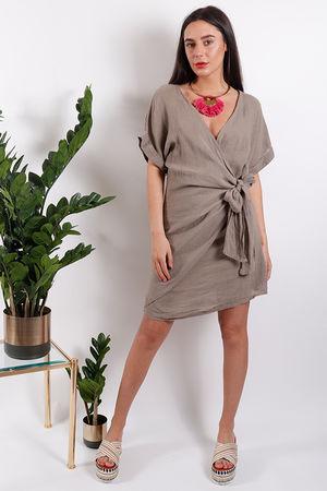 Rio Wrap Linen Dress Mocha
