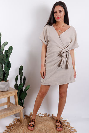 Rio Wrap Linen Dress Stone
