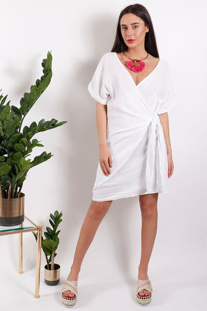 Rio Wrap Linen Dress White