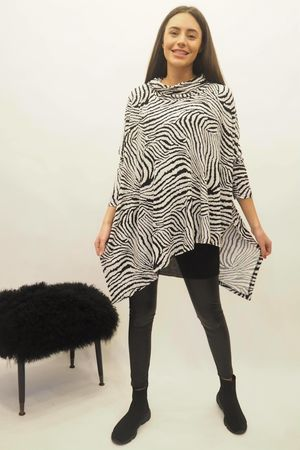 Zebra Asymmetric Cowl Top Black