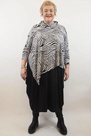 Zebra Asymmetric Cowl Top Black