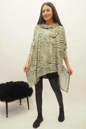 Zebra Asymmetric Cowl Top Khaki
