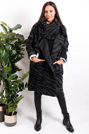 Zebra Cowl Cocoon Jacket Black