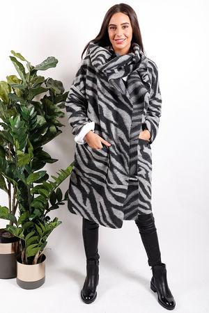 Zebra Cowl Cocoon Jacket Grey