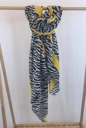 Zebra Stripe Raw Edge Scarf Mellow Yellow
