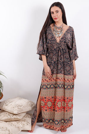 Zen Ethics Assam Printed Kimono Dress