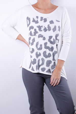 Zippy Animal Print Zip Sweat Vanilla