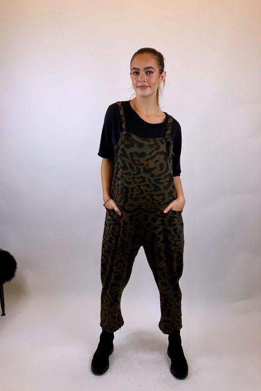 Made In Italy Mama Mia Dungarees Khaki Leopard