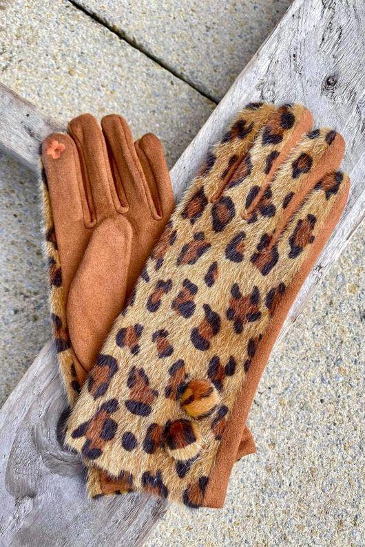Benji Leopard Gloves Tans