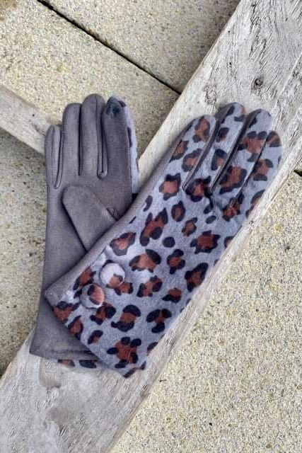 Benji Leopard Gloves Greys