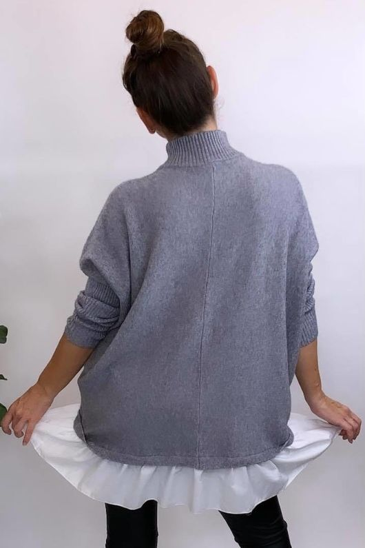 The Charli Turtle Shirty Knit Grey Marl