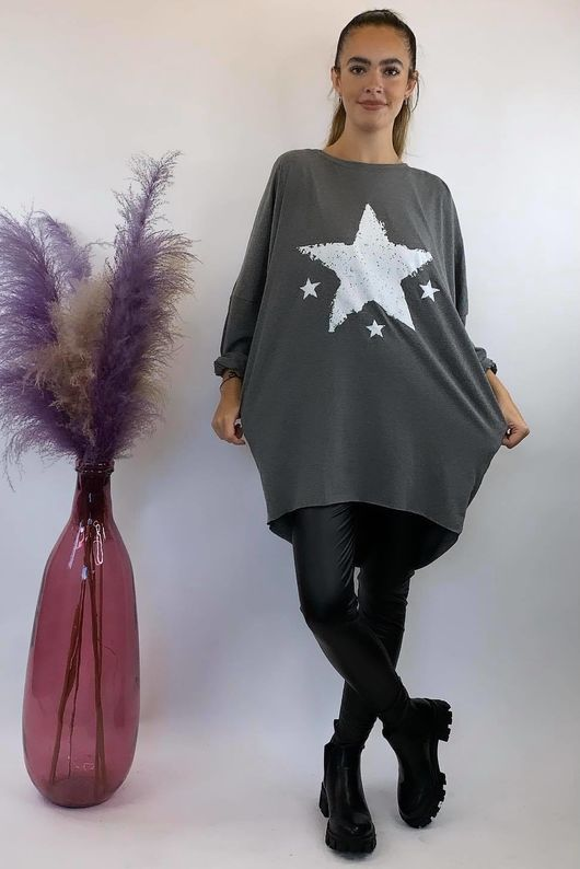 4 Star Popoon Tunic Dark Marl Grey
