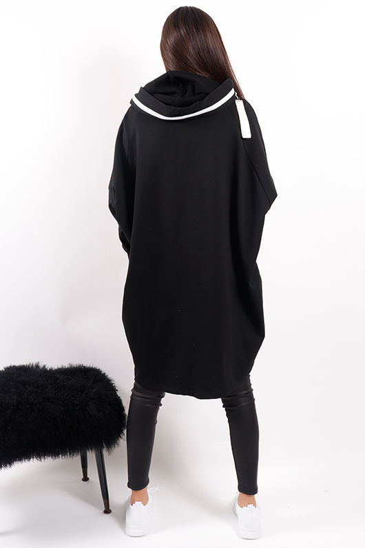 Made In Italy Mercer 5 Lines Oversized Hoody Black