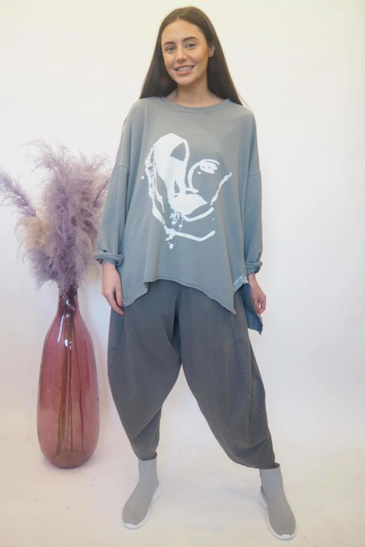 Abstract Heart Hi Lo Sweat Steel