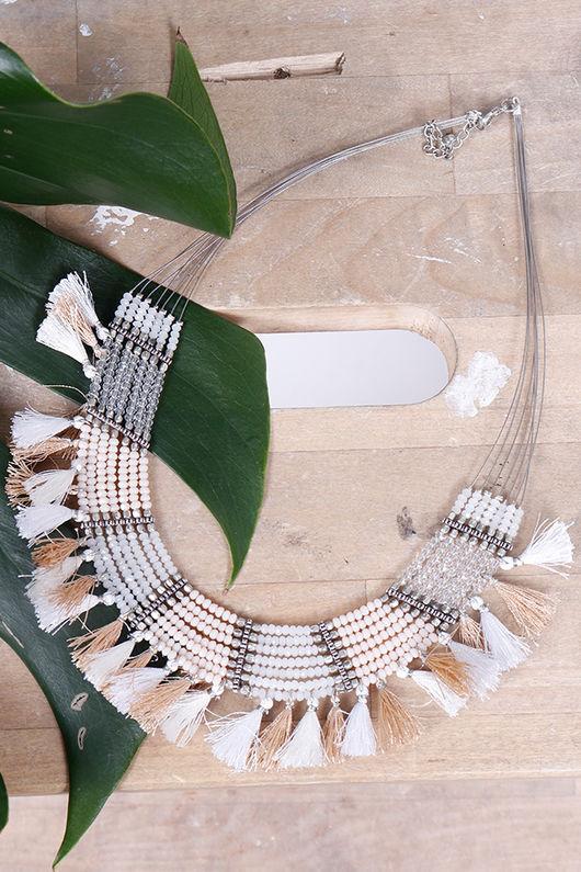 Alex-Max Fringe & Bead Necklace Neutral