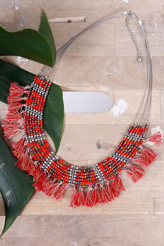 Alex-Max Fringe & Bead Necklace Orange
