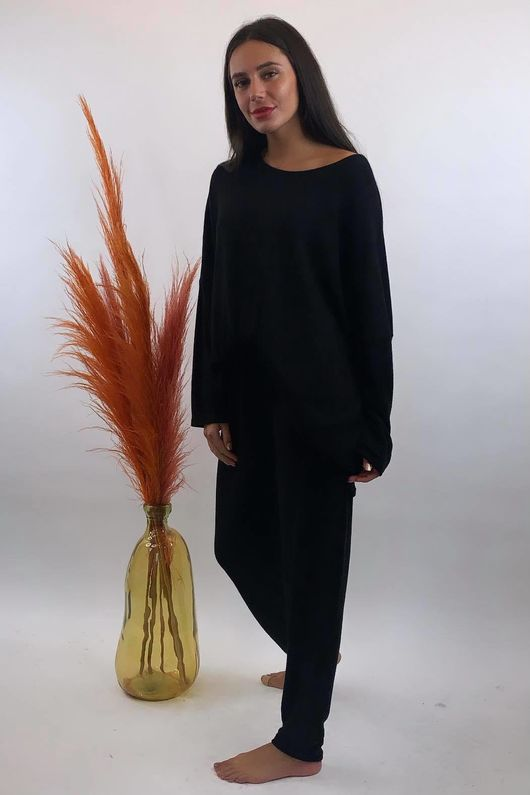 Basic Relaxed Fine Knit Lounge Suit Black