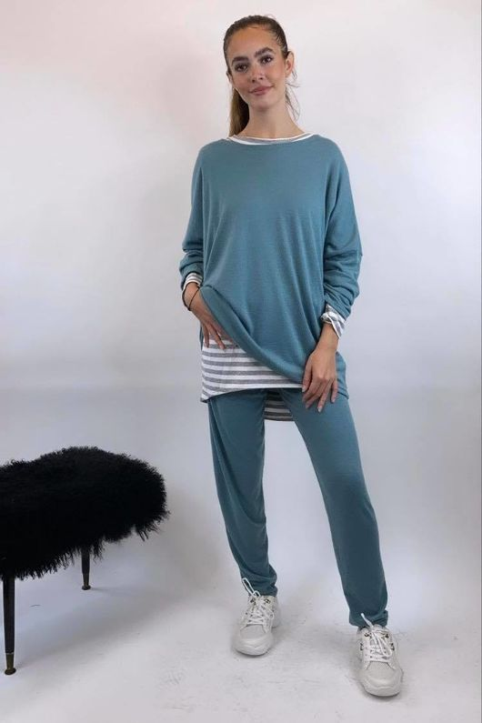 Basic Relaxed Fine Knit Lounge Suit Duck Egg