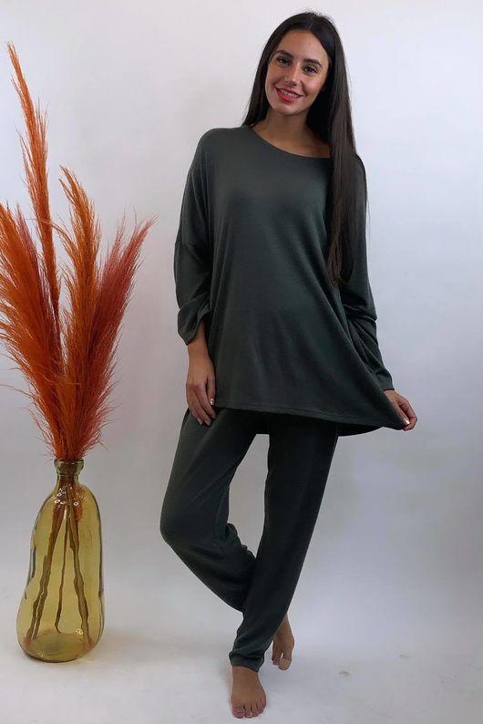 Basic Relaxed Fine Knit Lounge Suit Khaki