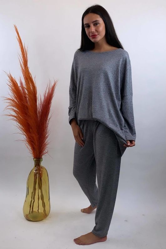 Basic Relaxed Fine Knit Lounge Suit Marl Grey *Back Soon