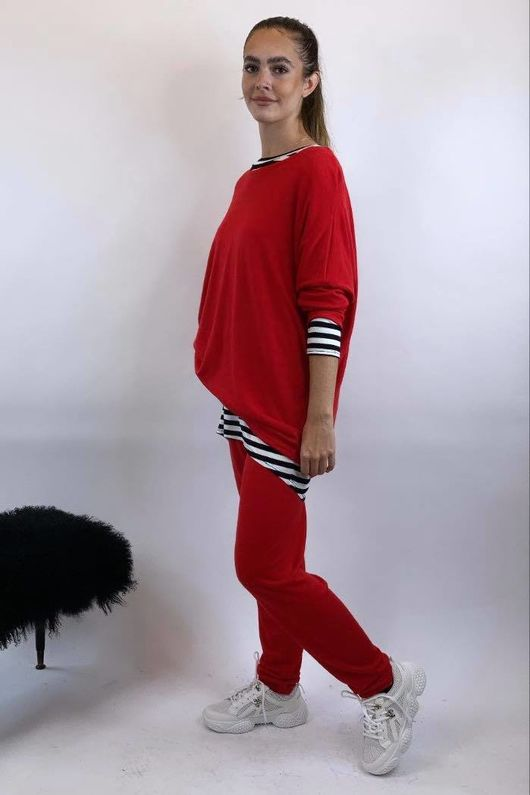 Basic Relaxed Fine Knit Lounge Suit Red