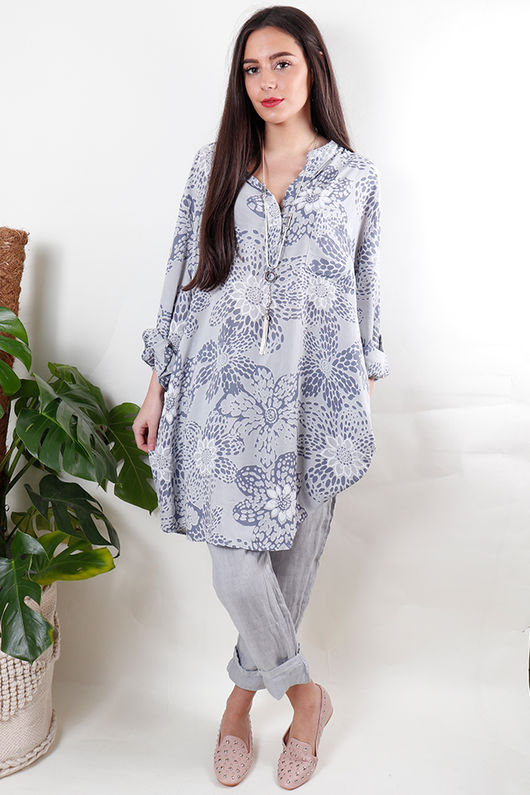 Batik Oversized Tunic Shirt Dove