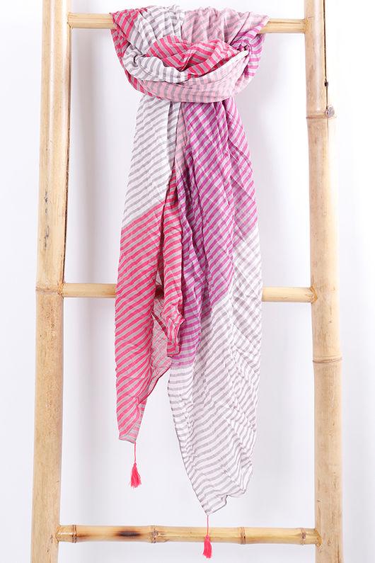 Block Stripe Scarf Pinks