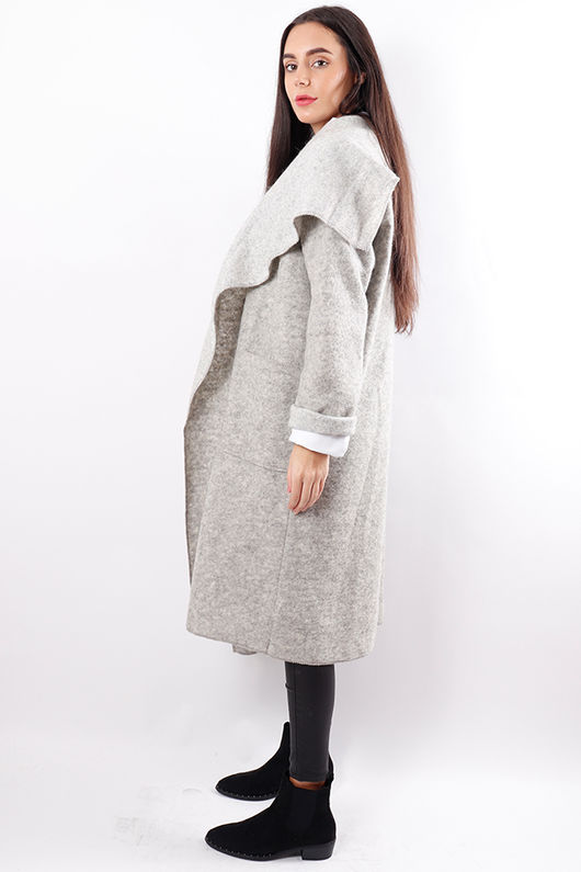 Boiled Wool Duster Coat Light Grey