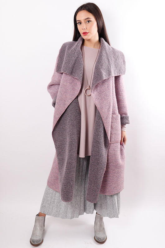 Boiled Wool Duster Coat Mauve