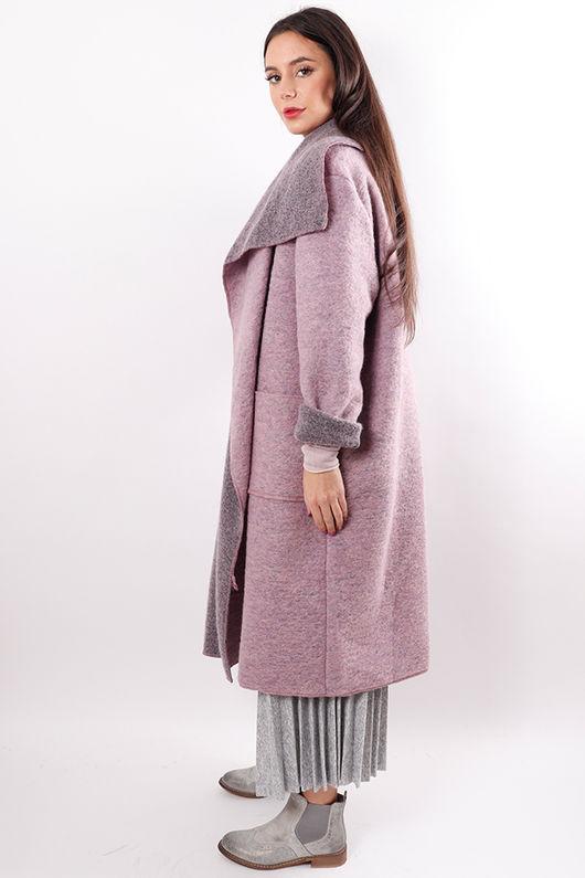 Boiled Wool Duster Coat Violet