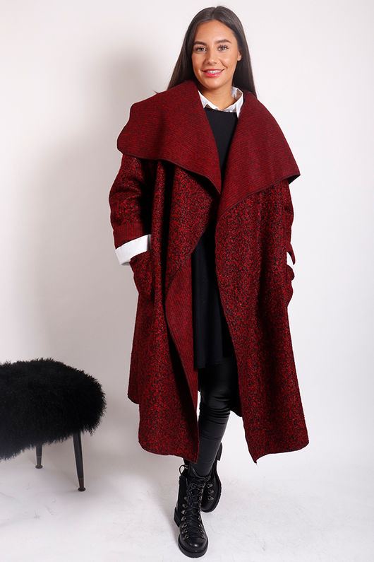 Boucle Blanket Coat Burgundy