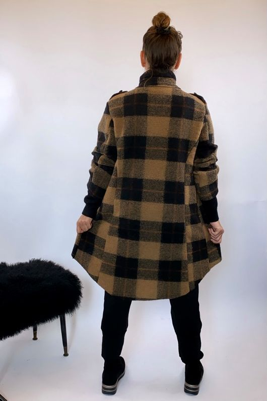 The Military Check Wool Jacket Tans and Black