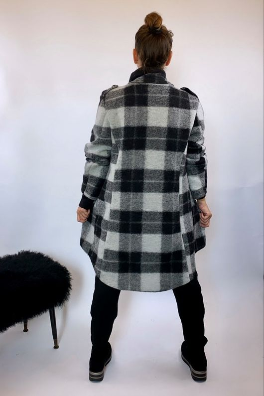 The Military Check Wool Jacket Greys and Black