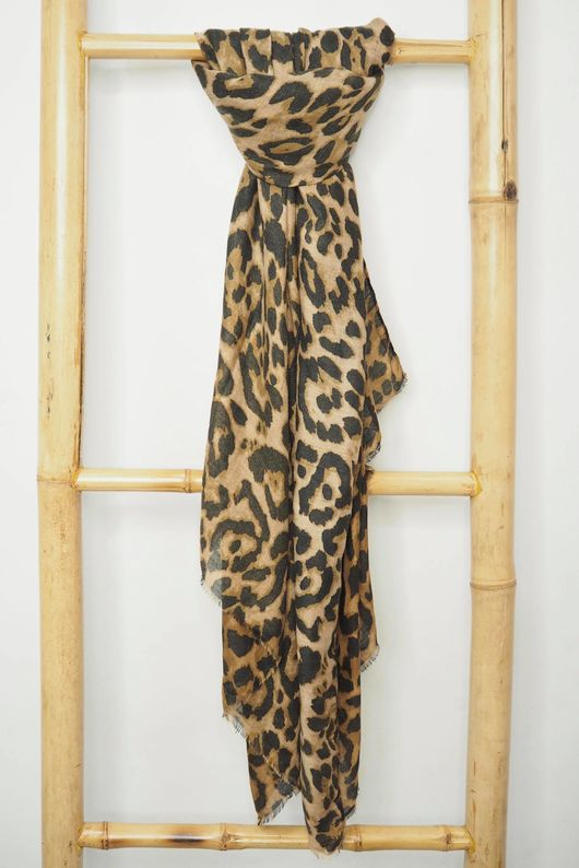 Classic Leopard Soft Touch Scarf Tan
