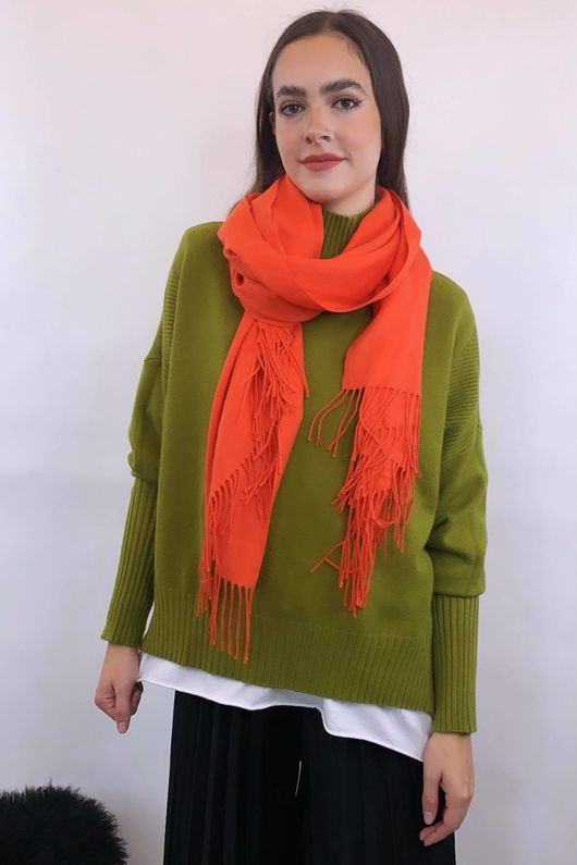 Classic Cashmere Fringe Scarf Fire