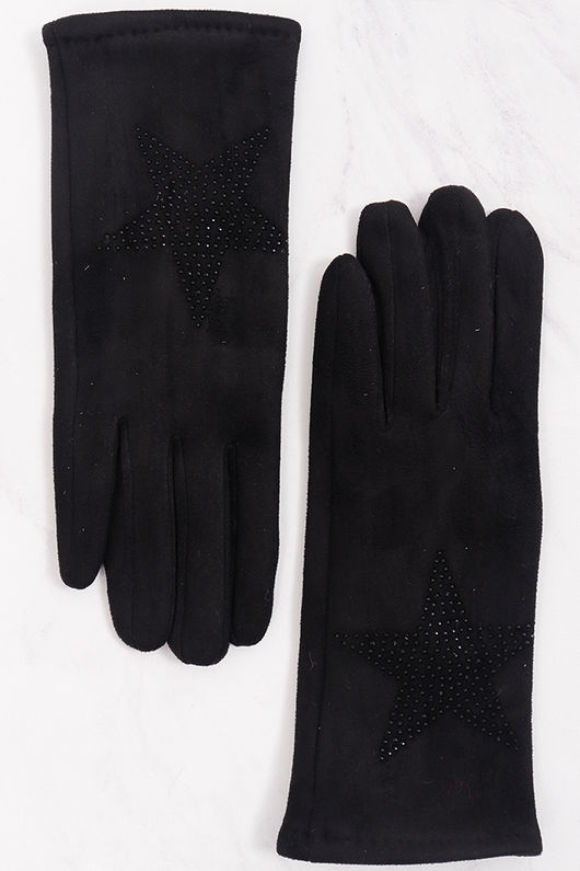 Diamanté Star Suedette Gloves Black