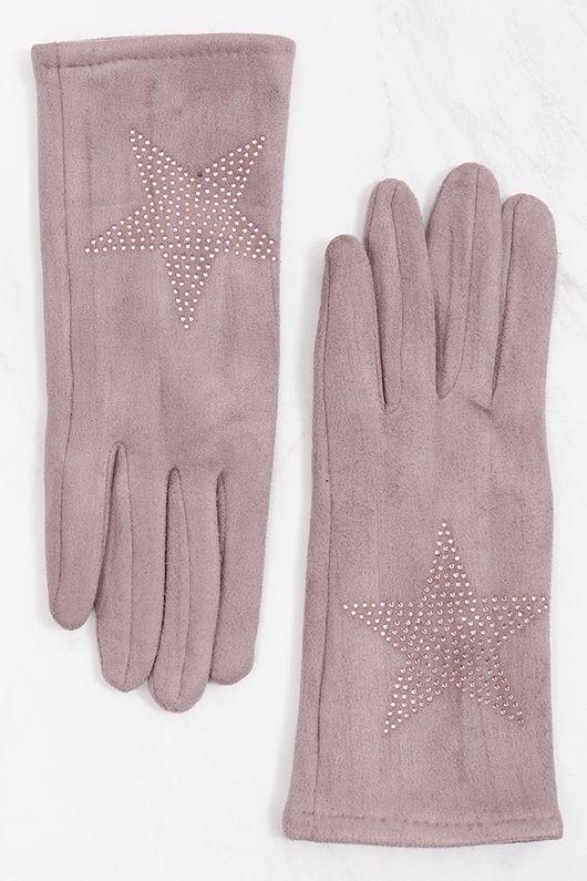 Diamanté Star Suedette Gloves Lilac Grey