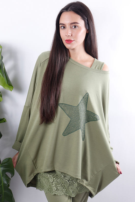 Dip Back Star Sweat Green