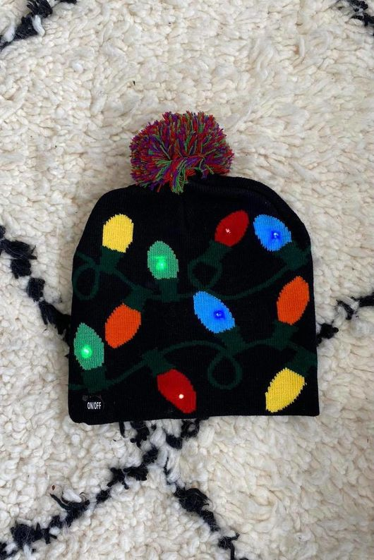 *** Flashing *** Christmas Lights Bobble Hat