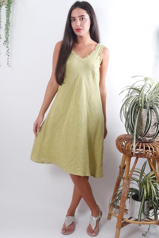 Frill Linen Dress Lime