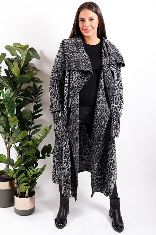 Grey Leopard Coatigan