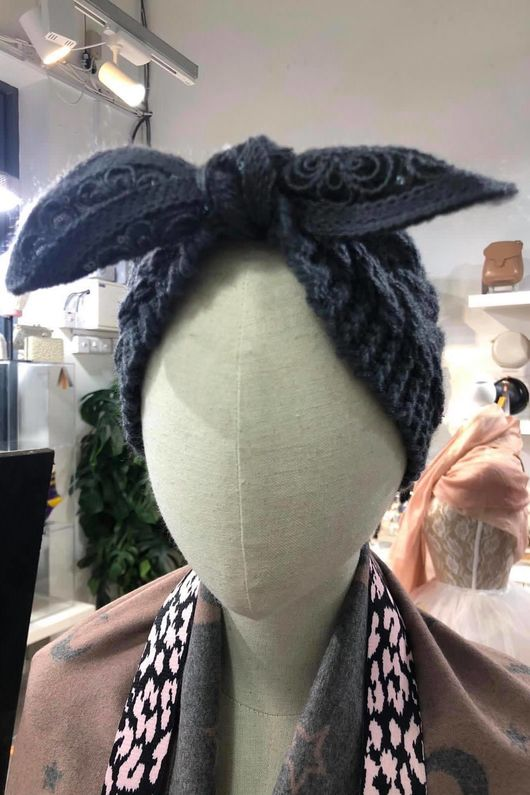 Knitted Bow Headband Graphite